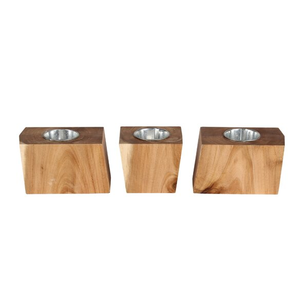 Genovese Geometric Block Natural Wood Pot Planter Set (Set of 3) by Union Rustic