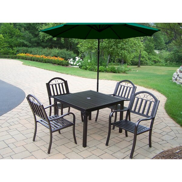 Lisabeth 5 Piece Dining Set with Umbrella by Red Barrel Studio