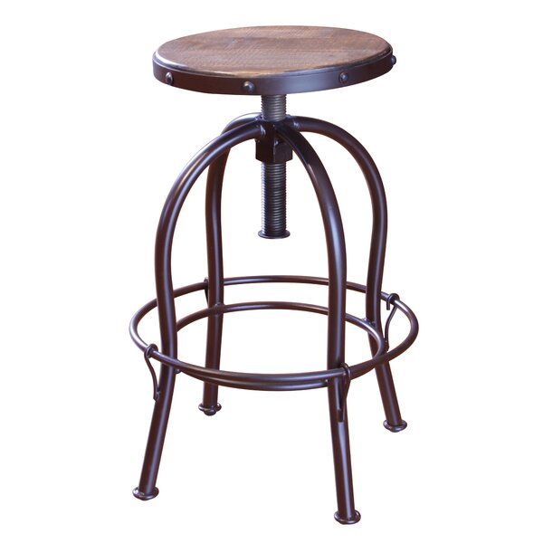 Guzik Adjustable Height Swivel Bar Stool by Williston Forge