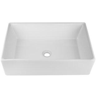 Read Reviews Nautilus Series Vitreous China Rectangular Vessel Bathroom Sink ByTicor Sinks