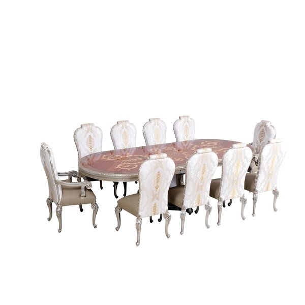 Modern  Phaedra Removable 9 Piece Leaf Solid Wood Dining Set By Astoria Grand Purchase