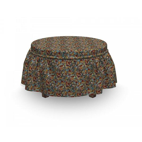 Doodle Cinema Items Popcorn 2 Piece Box Cushion Ottoman Slipcover Set By East Urban Home