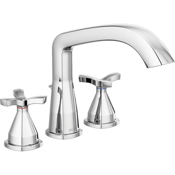 Stryke Double Handle Deck Mounted Roman Tub Faucet Trim with Diverter by Delta Delta
