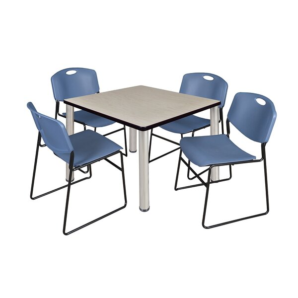 Leiser Square Table with 4 Zeng Chairs by Symple Stuff