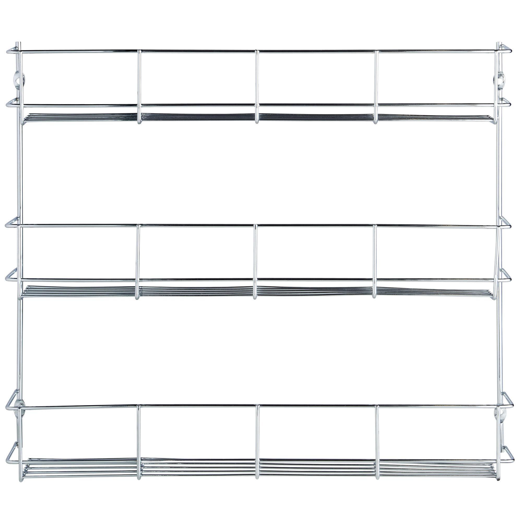 Spice Rack 5 Tier Chrome Plated Kitchen Jar Organizer Wall Cabinet Storage
