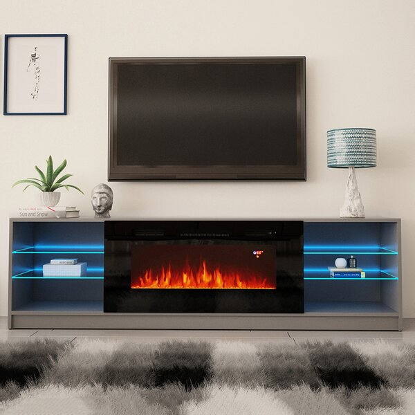 Review Chesler TV Stand For TVs Up To 90 Inches With Electric Fireplace Included