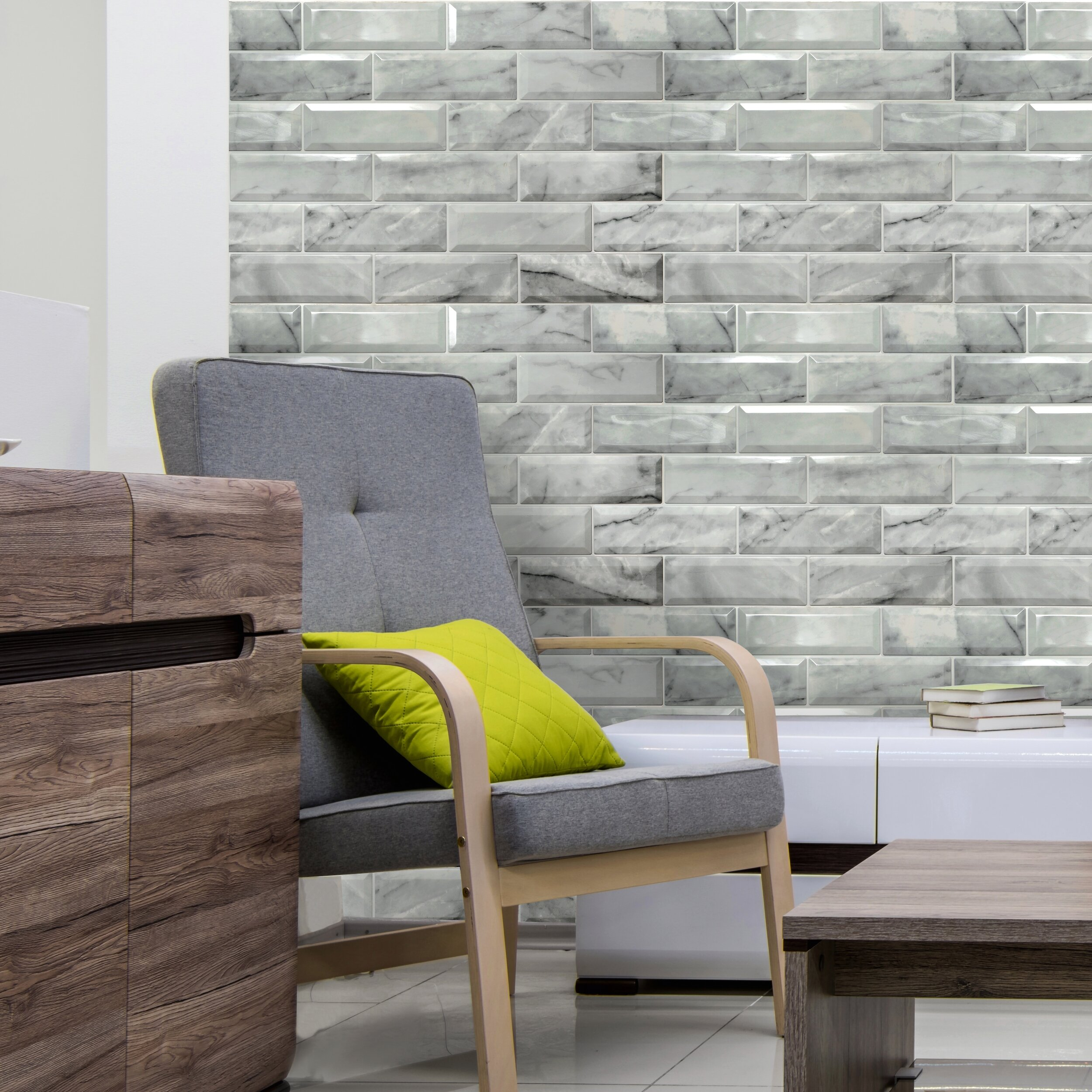 Dundee Deco Off White Faux Marble Bricks Pvc 3d Wall Panel Interior Design Wall Panelling Decor Commercial And Residential Application 3 3 Ft X 2 Ft 6 4 Sq Ft