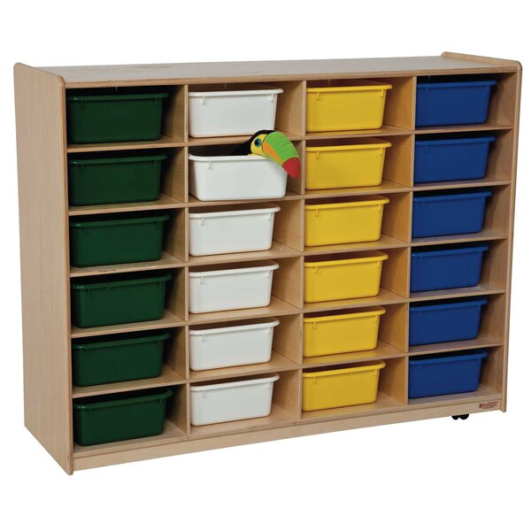 24 Compartment Cubby with Casters by Wood Designs