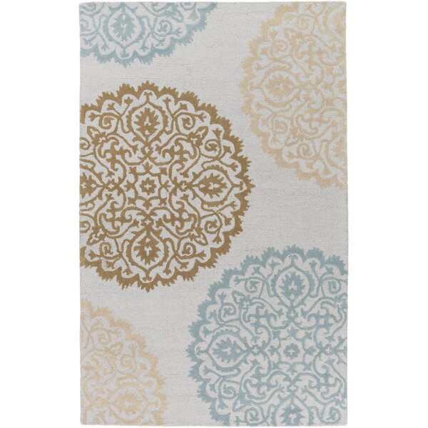 Couture Hand Tufted Ivory/Blue Area Rug by Red Barrel Studio