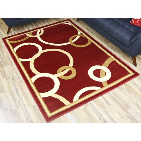 Passion Red/Gold Area Rug by Beyan Signature