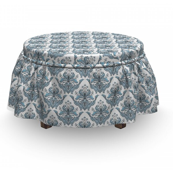 Winter Classical Floral Damask 2 Piece Box Cushion Ottoman Slipcover Set By East Urban Home