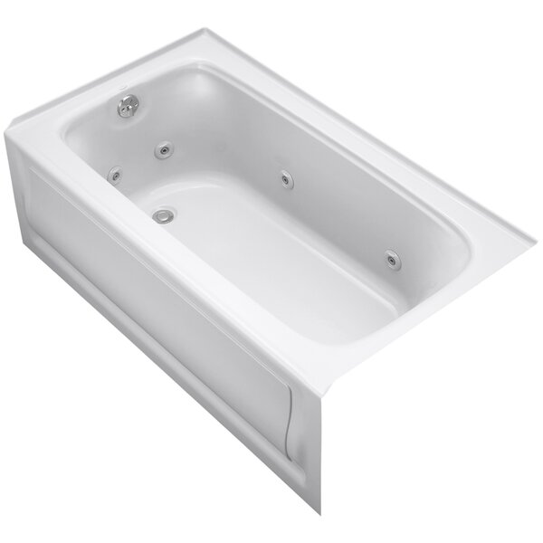 Bancroft Alcove Whirlpool Bath with Tile Flange, Left-Hand Drain and Bask Heated Surface by Kohler