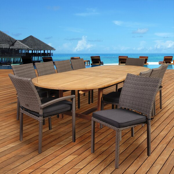 Catriona 11 Piece Teak Dining Set with Cushions by Beachcrest Home