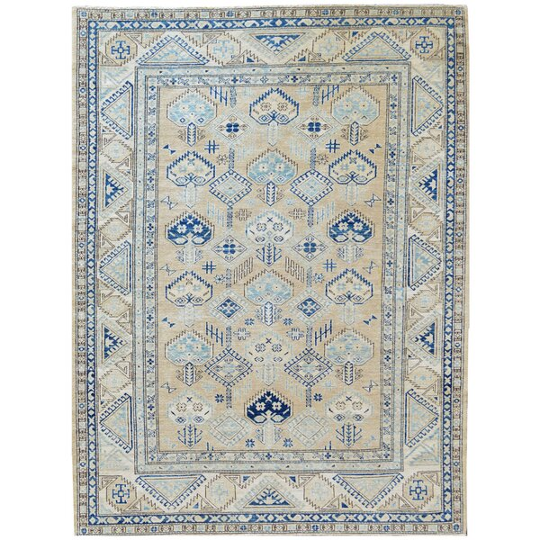 One-of-a-Kind Serapi Hand-Knotted Wool Beige/Blue Indoor Area Rug by Mansour