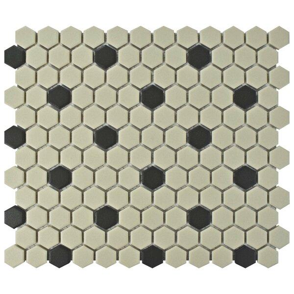 New York Hexagon 0.875 x 0.875 Porcelain Unglazed Mosaic Tile in Antique White/Black by EliteTile