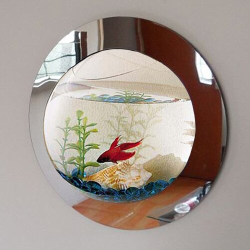 Beagle 1 Gallon Reflection Fish Bubble Deluxe Mirrored Wall Mounted Aquarium Tank by Archie & Oscar