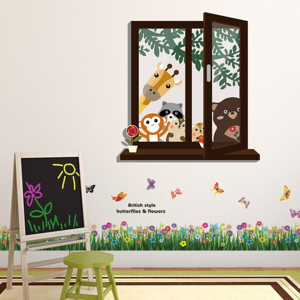 Howle Window View of Animal Friends and Butterfly Grass Wall Decal by Zoomie Kids