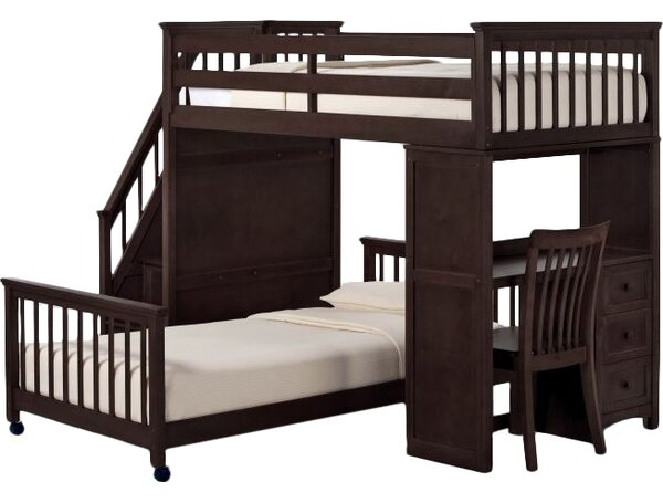 Javin Twin Stair L-Shaped Bunk Bed with Drawers by Harriet Bee