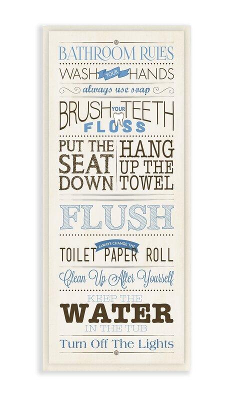 U0027Modern Skinny U0027Bathroom Rulesu0027 Framed Textual Art ...