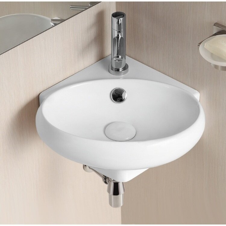 Ceramic 15 Corner Bathroom Sink With Overflow
