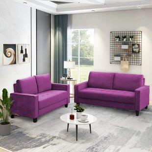 Eustafie 2 Piece Velvet Living Room Set by Ebern Designs