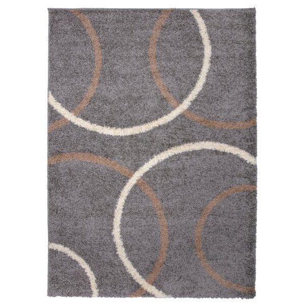 Samantha Cozy Shag Modern Circles Beige Area Rug by Ebern Designs