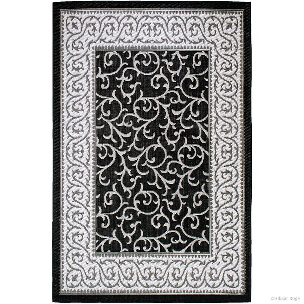 Morales All-Weather Floral Black Indoor/Outdoor Area Rug by Winston Porter