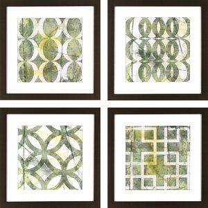 Green Lattice Patterns 4 Piece Framed Graphic Art Set by Latitude Run