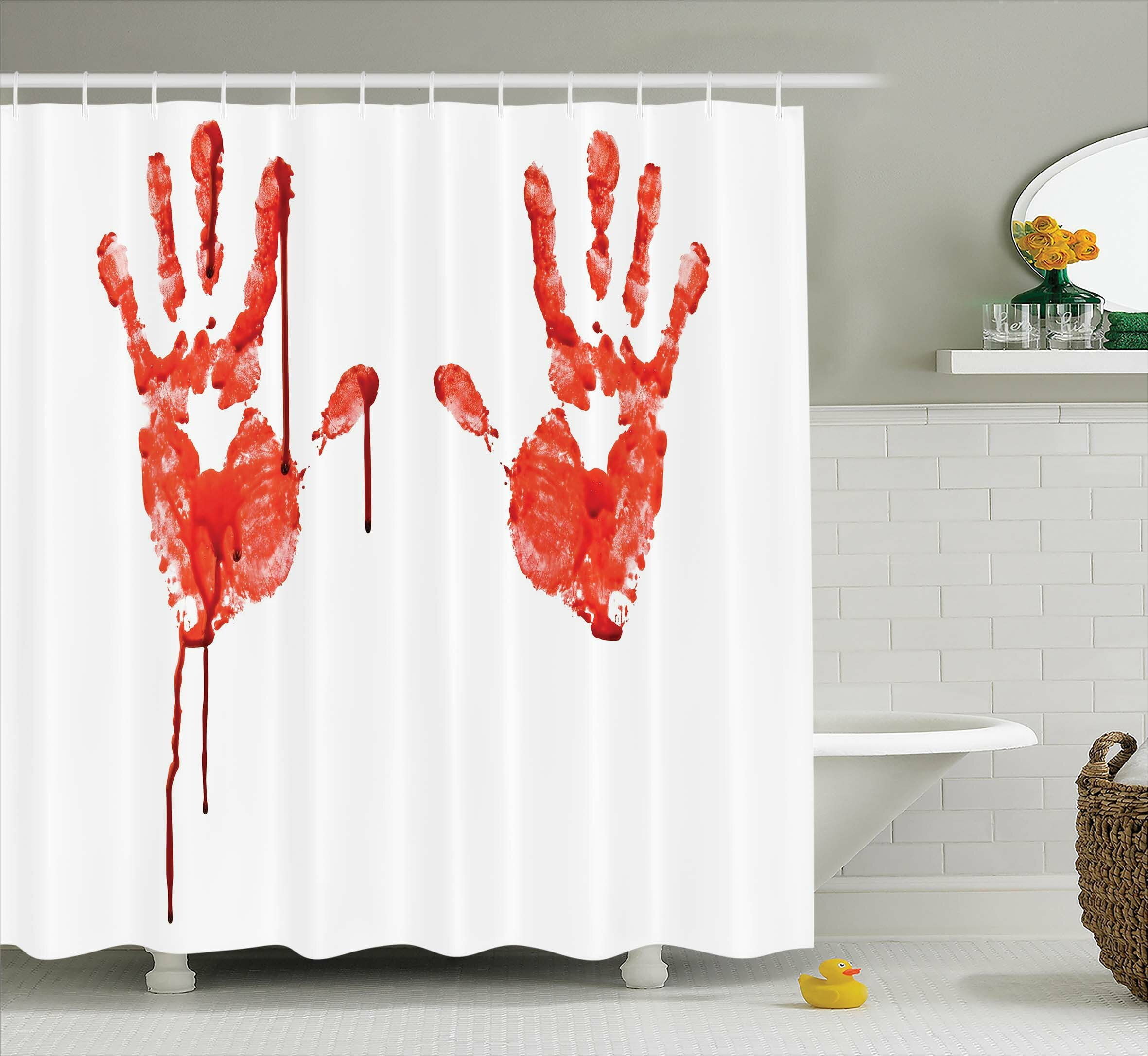 Ambesonne Bloody Help Me Horror Scary Shower Curtain