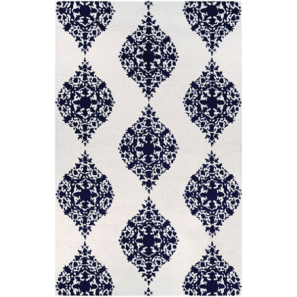 Orkney Ornament Hand-Woven Ivory/Blue Area Rug by Bungalow Rose