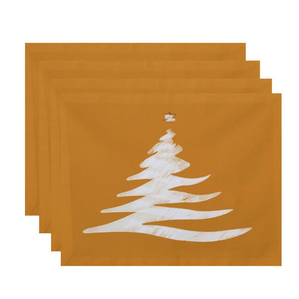 Holiday Wishes Wishing Tree Geometric Print Placemat (Set of 4) by The Holiday Aisle