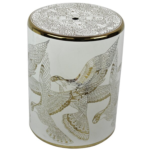 Lazo Ceramic Bird Design Garden Stool by World Menagerie