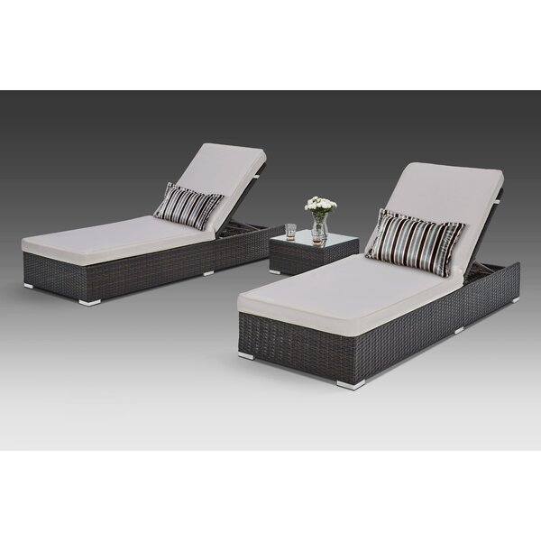 Putney Sun Lounger Set with Cushions and Table by Brayden Studio