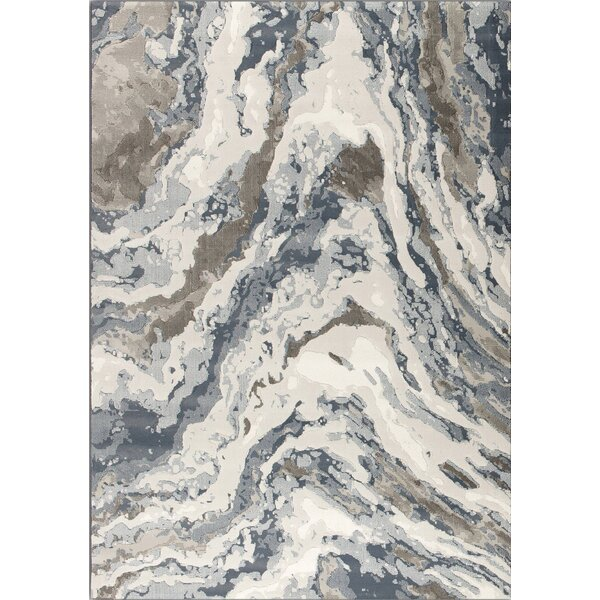 Lilith Rushing Water Beige/Blue Area Rug by 17 Stories