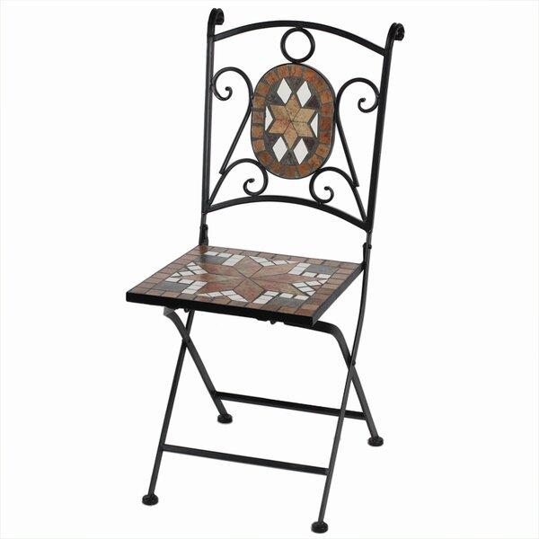Willmon Mosaic Metal Folding Patio Dining Chair by Fleur De Lis Living