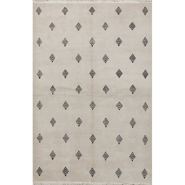 Hand-Knotted Wool Ivory Area Rug