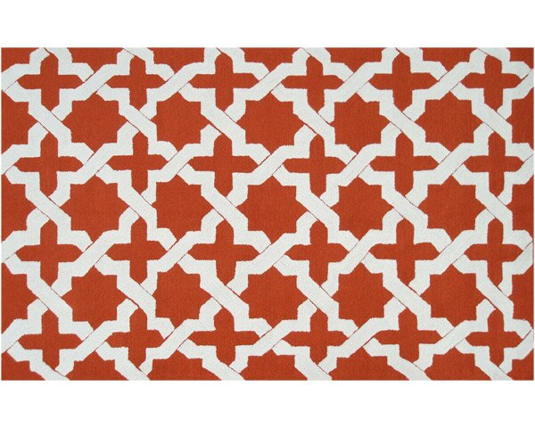 Kendall Hand-Hooked Orange Indoor/Outdoor Area Rug by Threadbind