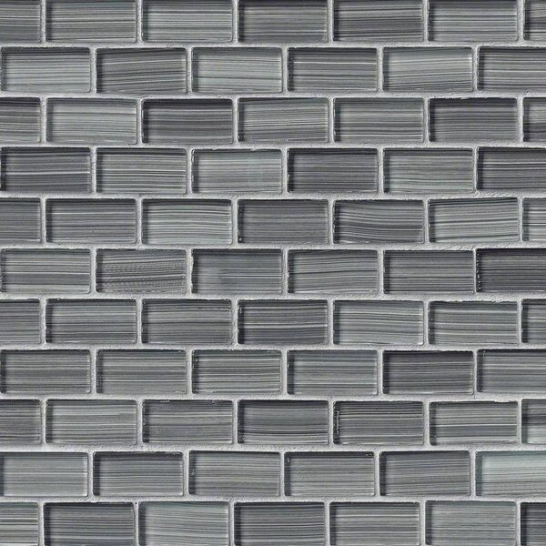 Winter Brick 1 x 2 Glass Tile in Gray by MSI