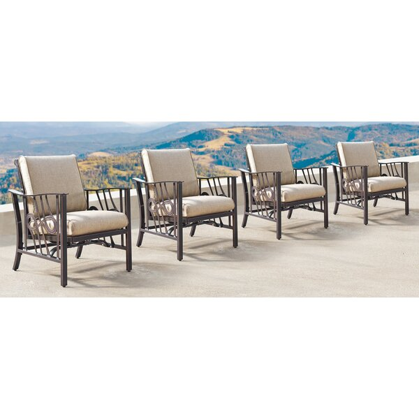 Mccleskey Patio Chair with Cushions (Set of 4) by Canora Grey