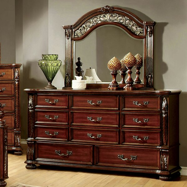 Glynda 11 Drawer Double Dresser with Mirror by Three Posts