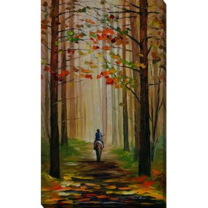 Autumn Stroll on a Horse by Leonid Afremov Painting Print on Wrapped Canvas by Picture Perfect International