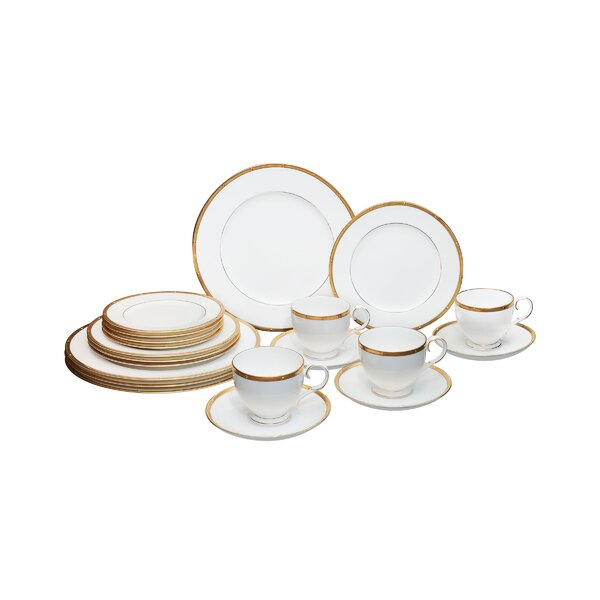 Rochelle Gold Bone China 20 Piece Dinnerware Set, Service for 4 by Noritake