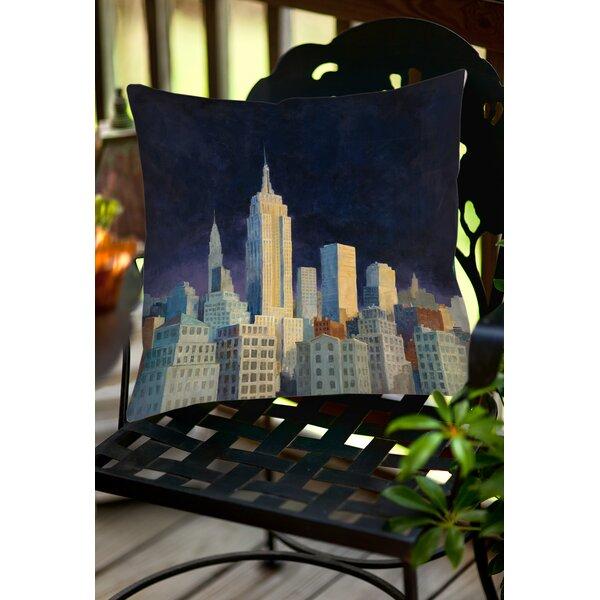 Midnight in Midtown Indoor/Outdoor Throw Pillow by Manual Woodworkers & Weavers
