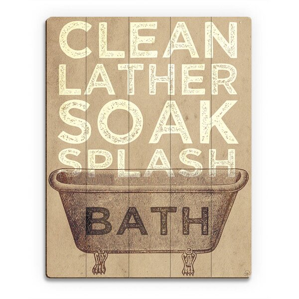 Wood Slats Bath Typography Graphic Art on Plaque by Click Wall Art