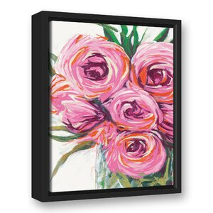 'Vase with Bright Flowers' Acrylic Painting Print on Canvas by House of Hampton
