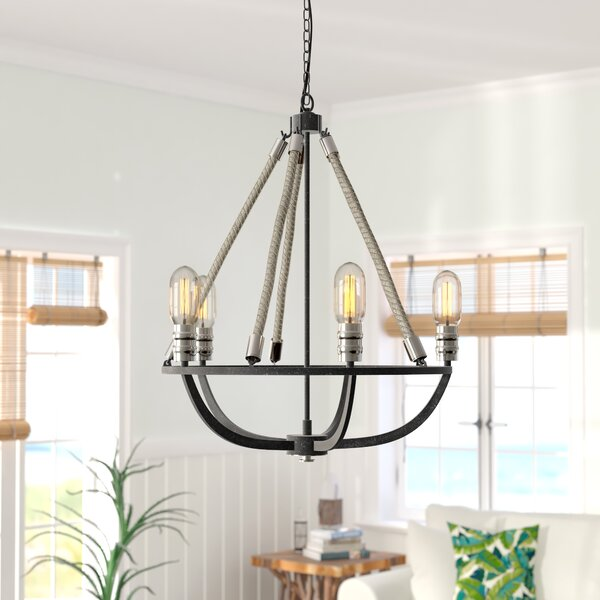 Ballantine 5-Light Candle Style Wagon Wheel Chandelier By Beachcrest Home