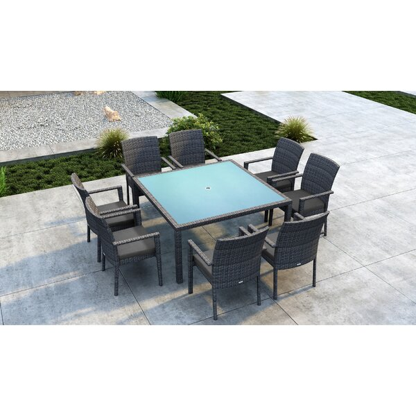 Gilleland 9 Piece Dining Set with Sunbrella Cushion by Orren Ellis