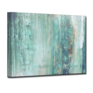 'Abstract Spa' Framed Graphic Art Print on Canvas Blue by Beachcrest Home