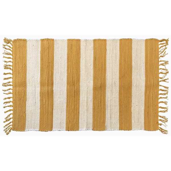 Bruno Stripe Area Rug in Yellow by Highland Dunes