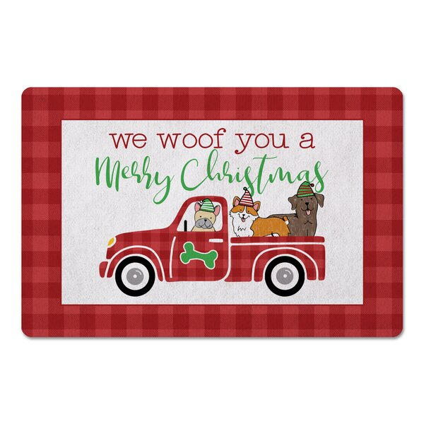 Joan Puppy Christmas Truck Kitchen Mat